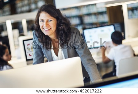 Working Woman Smiling Standing Concept