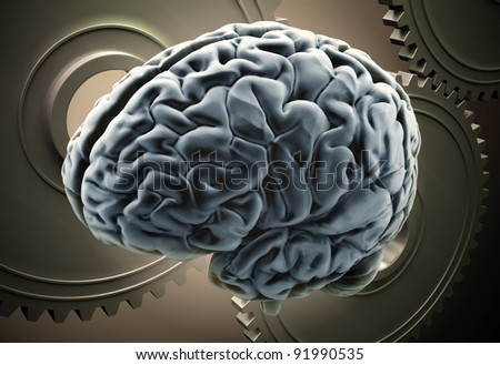 Workings of a human brain concept - brain with gears - stock photo
