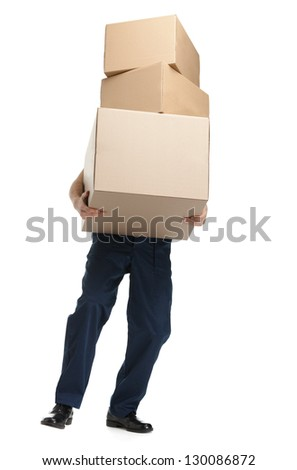 Workman delivers the heavy parcel of three boxes, isolated, white background