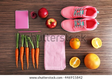 Workout and fitness dieting. Planning control diet concept - stock photo