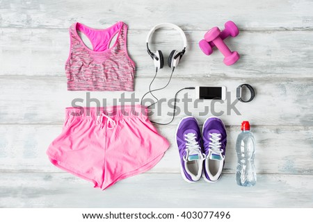 Workout objects on the floor  - stock photo