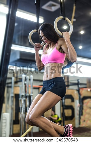 Workout On Crossfit Rings Fitness Woman Stock Photo Download Now