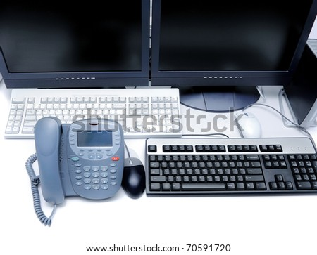 Workplace business person in the office. Phone and computer - stock photo