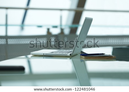 Workplace during business conference - stock photo