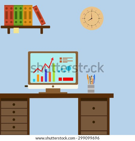 workplace for office worker. Stock  - stock photo
