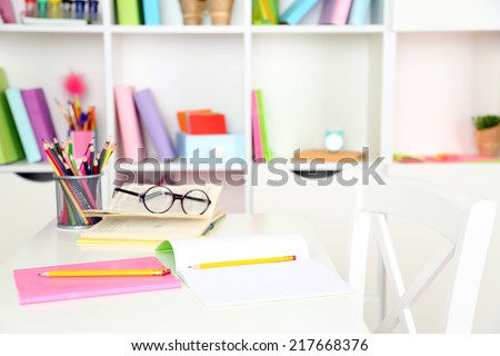Workplace in classroom - stock photo