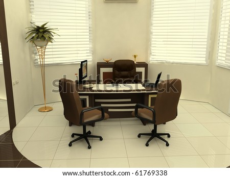 Workplace in the interior of the office - stock photo