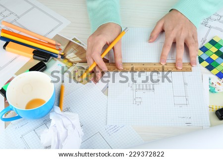 Workplace interior designer  - stock photo