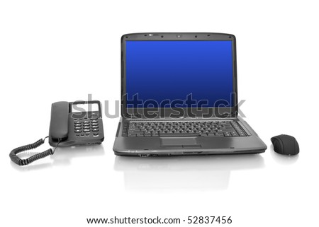 workplace. laptop with mouse and telephone isolated on white - stock photo