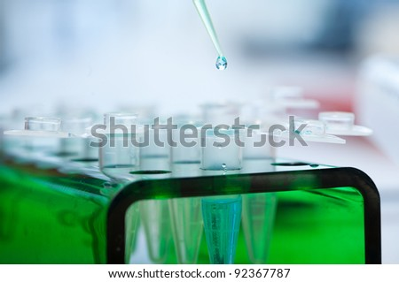 workplace modern laboratory for molecular biology test - stock photo