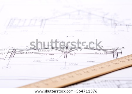 Workplace Architect Architectural Design Sketch Drawing Stock