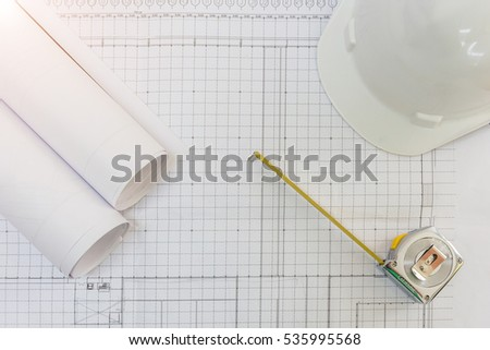 Workplace architect architectural project blueprints blueprint stock workplace of architect architectural project blueprints blueprint rolls pen and measuring tape malvernweather