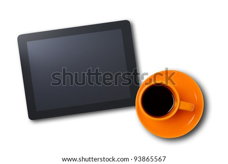 Workplace with blank digital tablet and cup of coffee. Above view shot - stock photo