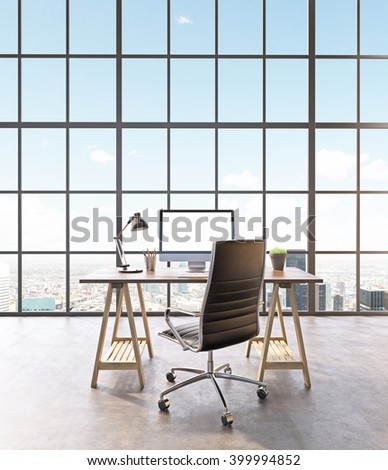 Workplace with computer and castor chair, hall with panoramic window. Loft. City view. Concept of new office. Mock up. 3D rendering