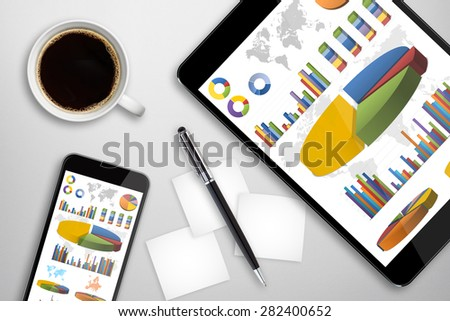Workplace with digital tablet and mobile phone - stock photo