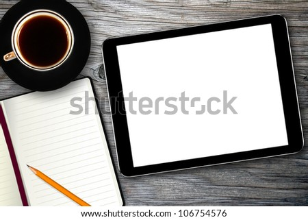 workplace with digital tablet, notebook and coffee cup - stock photo