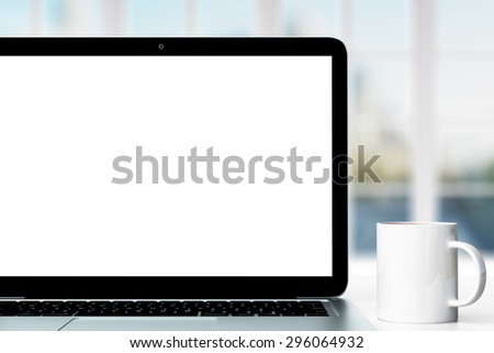 workplace with laptop and cup of coffee - stock photo