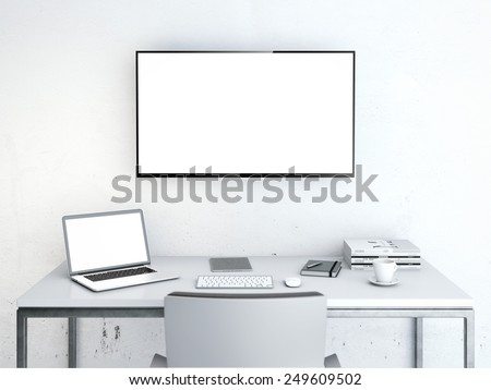 Workplace with table and large screen on the wall. 3d rendering