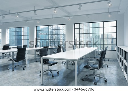 Workplaces in a bright modern loft open space office. Empty tables and docents' book shelves. Singapore panoramic view. A concept of a high quality consulting services. 3D rendering.