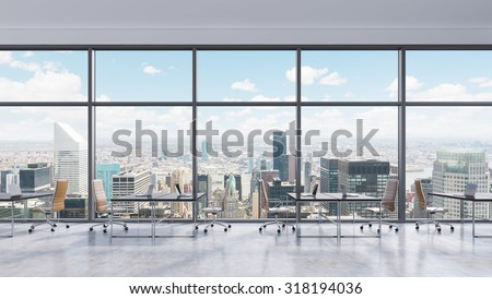 Workplaces in a modern panoramic office, New York city view in the windows, Manhattan. Open space. Black tables and brown leather chairs. A concept of financial consulting services. 3D rendering. - stock photo