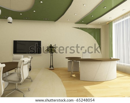Workplaces in modern office classical; - stock photo