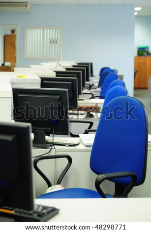 Workplaces in the empty bank - stock photo