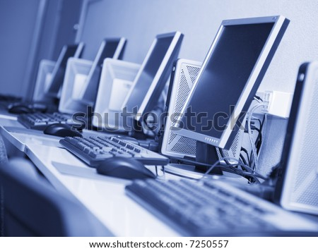 workplaces with blue tint - stock photo