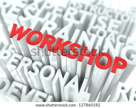 Workshop Concept. The Word of Red Color Located over Text of White Color. - stock photo