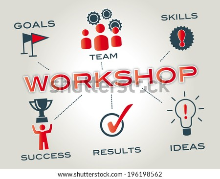 workshop concept with keywords and icons - stock photo