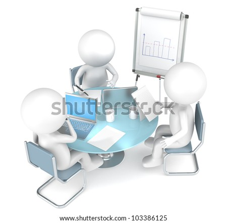 Workshop. 3D little human characters X3 working together. Business People series.