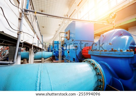 Workshop internal water plant, a large metal pipe. - stock photo