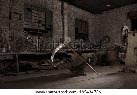 Workshop of Death - demolition - stock photo