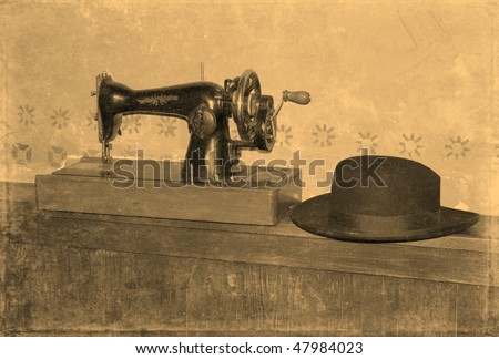 Workshop of the Jewish tailor, stylization old photos - stock photo