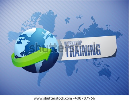 Workshop training globe sign concept illustration design graphic