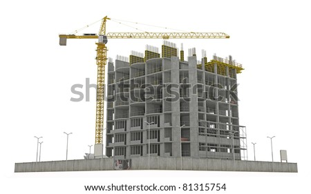 Worksite: unfinished building and tower crane isolated over white background - stock photo