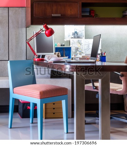 Workspace for designer/ modern home office desk with laptop and equipment - stock photo