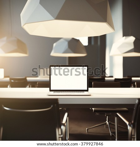 Workspace in loft office, hipsteric laptop screen, coworking office, 3d render