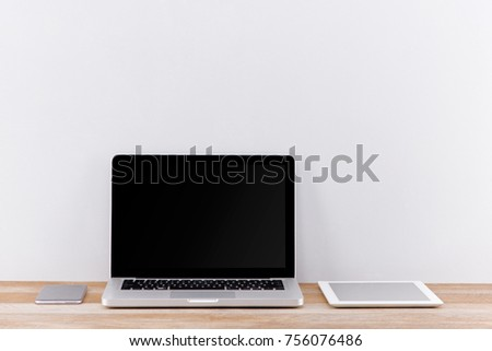 Workspace mockup with desktop computer screen isolated.