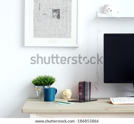 Workspace. Objects on a table in the office - stock photo