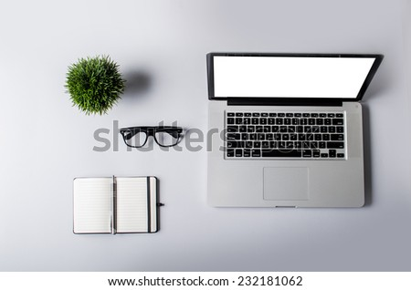 Workspace on gray table - stock photo