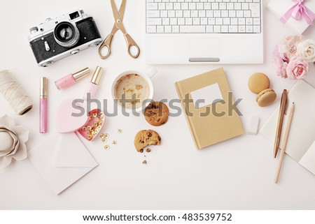 workspace with notebook keyboard, sketchbook, diary, coffee on white background. Flat lay, top view office table desk.