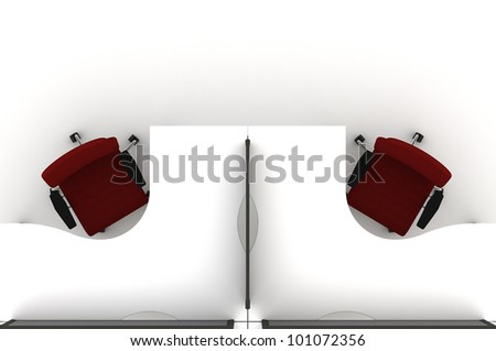 Workstation table-3d illustration - stock photo