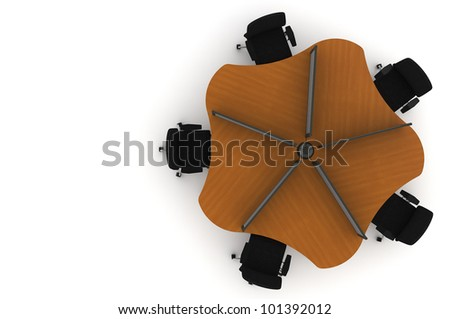 Workstation table-3d illustration - stock photo