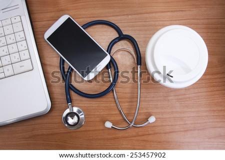 worktable healthcare, medicine - stock photo