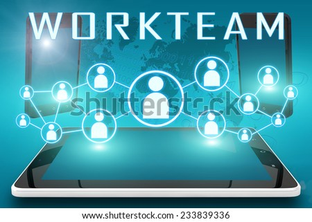 Workteam - text illustration with social icons and tablet computer and mobile cellphones on cyan digital world map background - stock photo