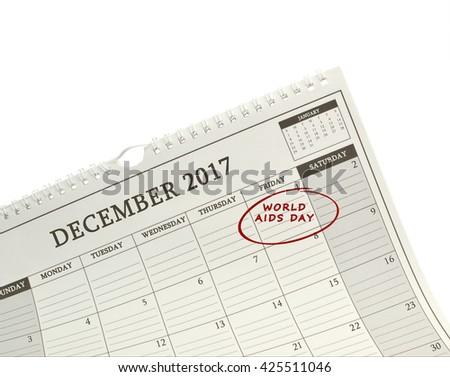 World Aids Day December 1, 2017 Calendar isolated on white background - stock photo