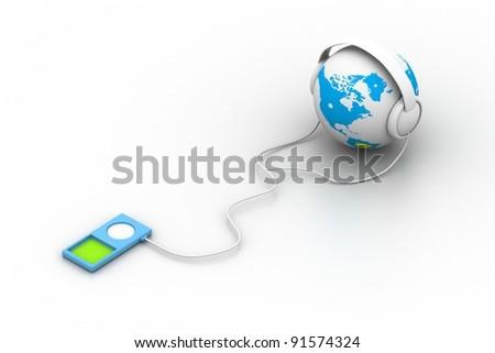 World and music - stock photo