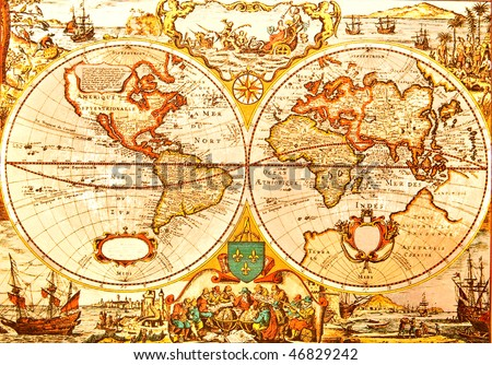World Antique Map -  An antique map of the world - stock photo