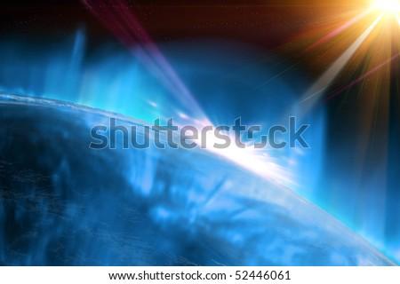 World apocalypse - universe background - stock photo