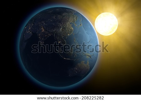 World Asia earth space sun. Images are furnished by NASA